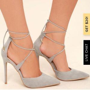 Dani Grey Lace Up Suede Heels